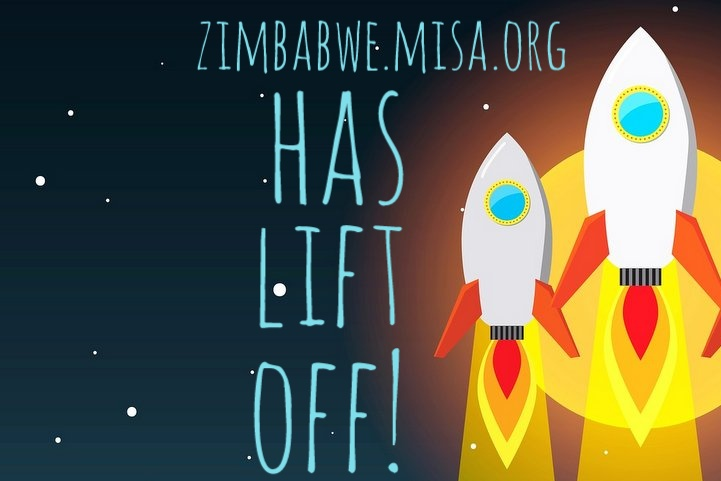 Drawing of a rocket launching with words, zimbabwe.misa.org has lift off!