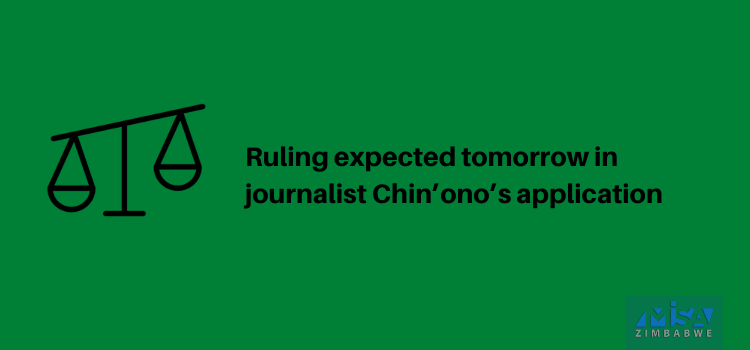 Ruling expected tomorrow in Chin'ono's application