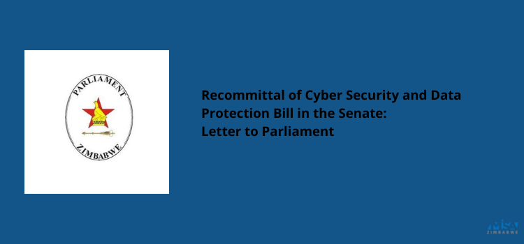 Recommittal of Cyber Security and Data Protection Bill in the Senate: Letter to Parly